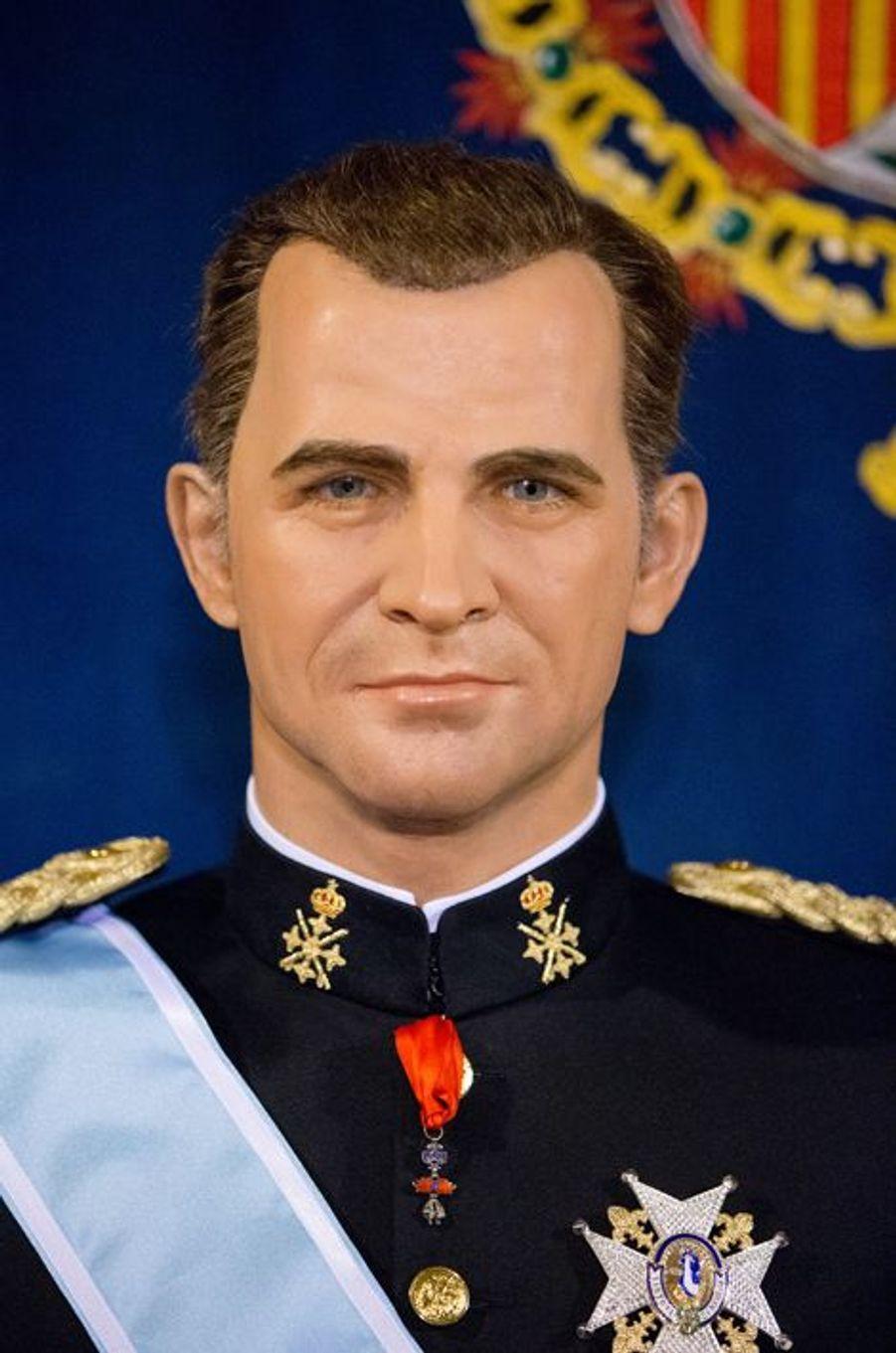 La statue de cire du roi Felipe VI au Museo de Cera à Madrid, dévoilée le 12 octobre 2014