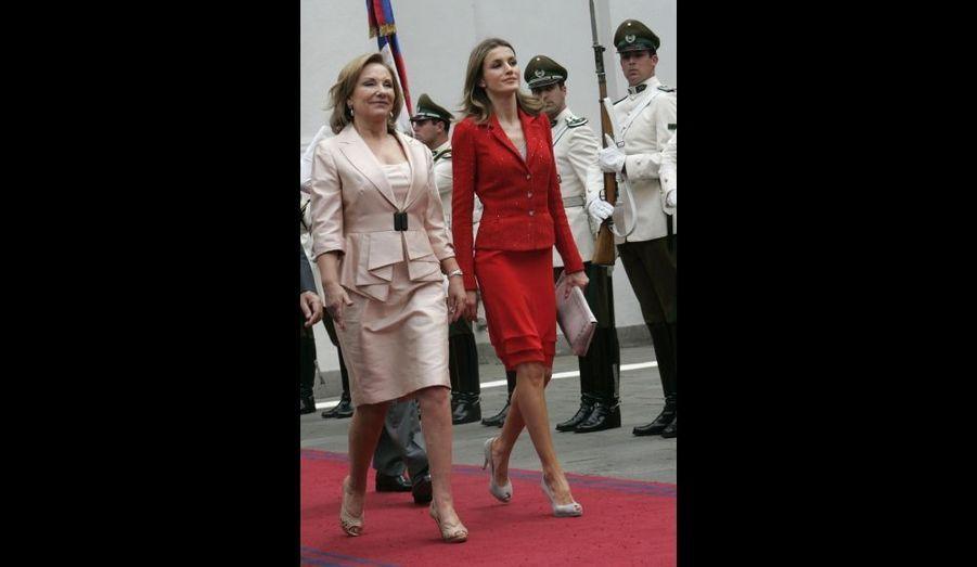 La première dame du Chili, Cecilia Pinera, et Letizia