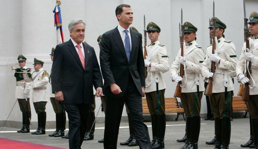 Le président chilien Sebastian Pinera et Felipe d'Espagne