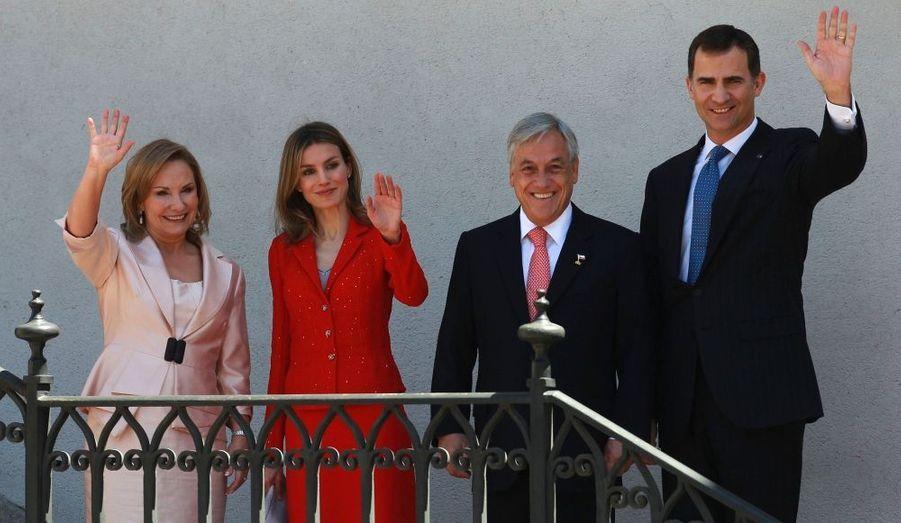 Le prince héritier Felipe d'Espagne et sa princesse Letizia sont au Chili pour un visite officielle.