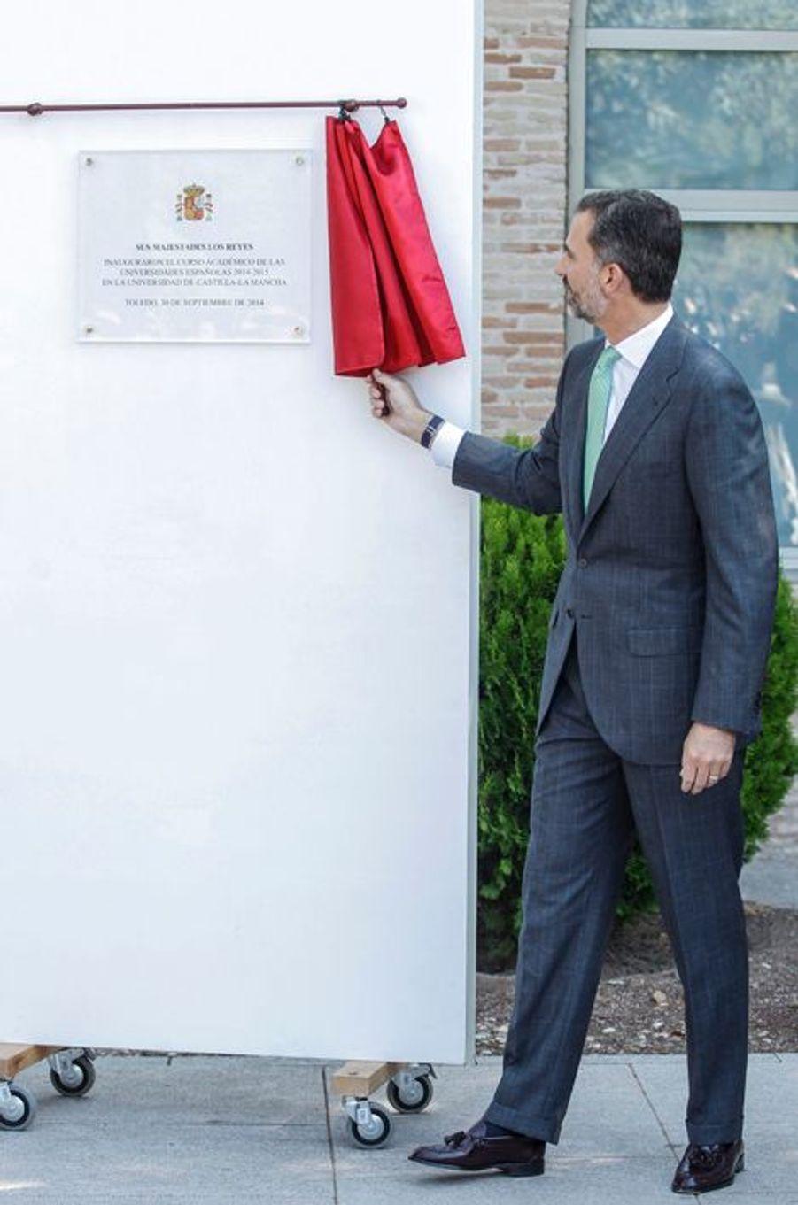 Letizia et Philippe VI à l'université de Castilla-La Mancha à Tolède pour la rentrée universitaire, le 30 septembre 2014