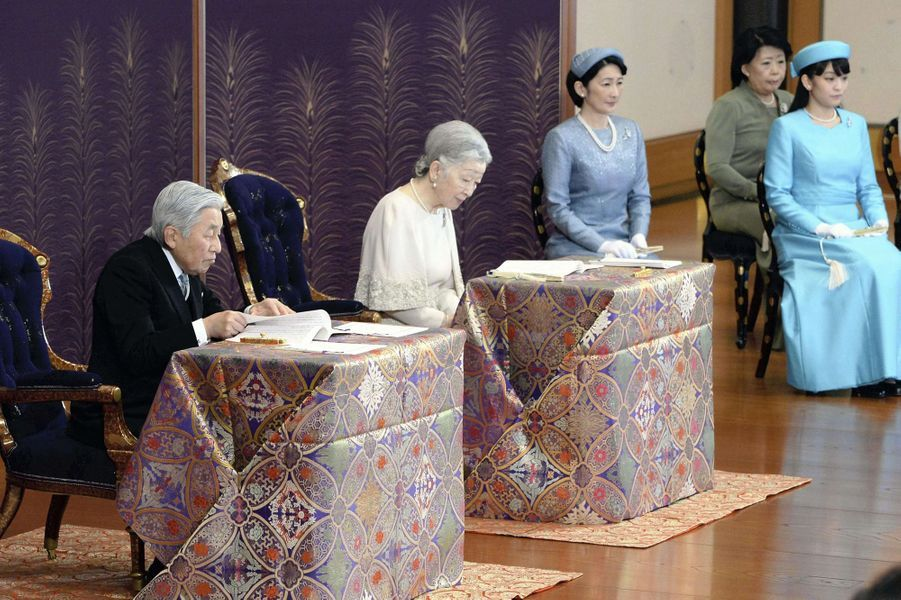 L'empereur Akihito du Japon, l'impératrice Michiko et les princesses Kiko et Mako à Tokyo, le 11 janvier 2017