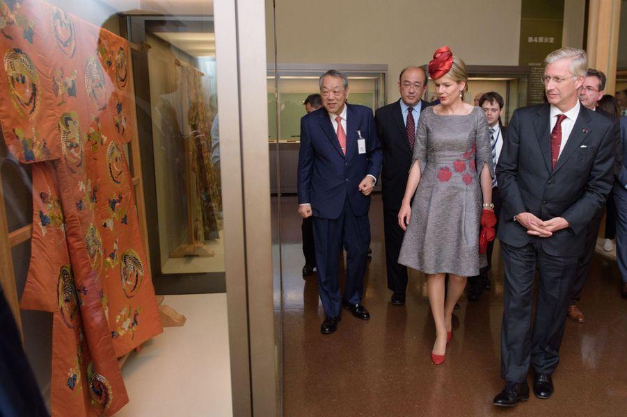 La reine Mathilde et le roi Philippe de Belgique au Tokugawa Art Museum à Nagoya, le 13 octobre 2016