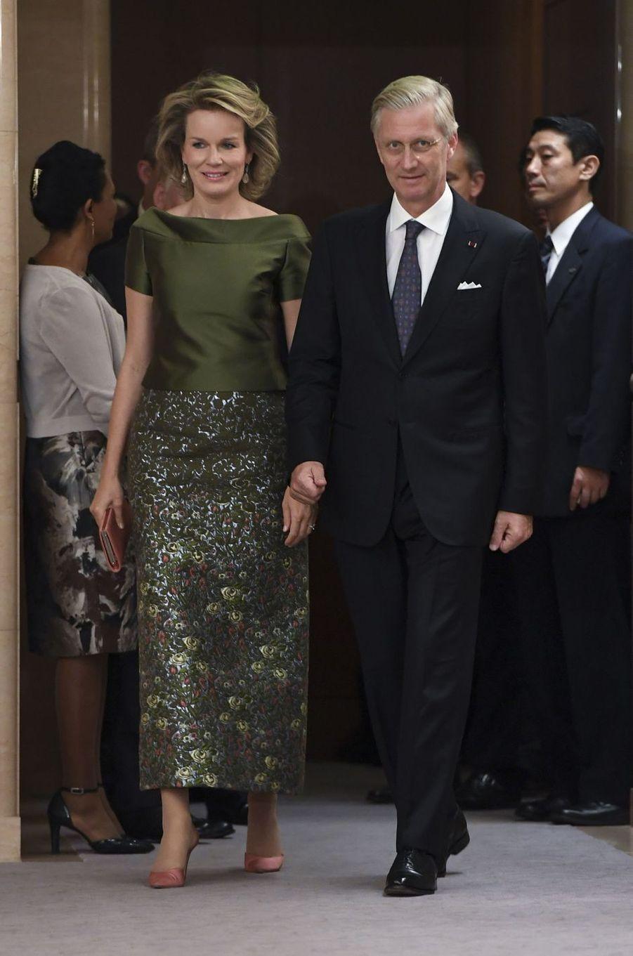 La reine Mathilde et le roi Philippe de Belgique à Tokyo, le 13 octobre 2016