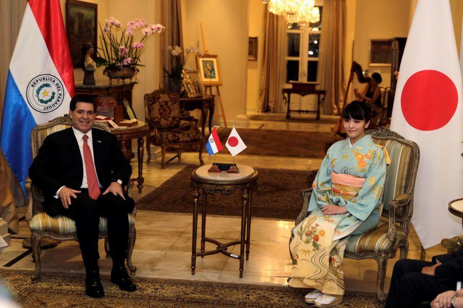 La princesse Mako du Japon avec Horacio Cartes à Asuncion, le 8 septembre 2016