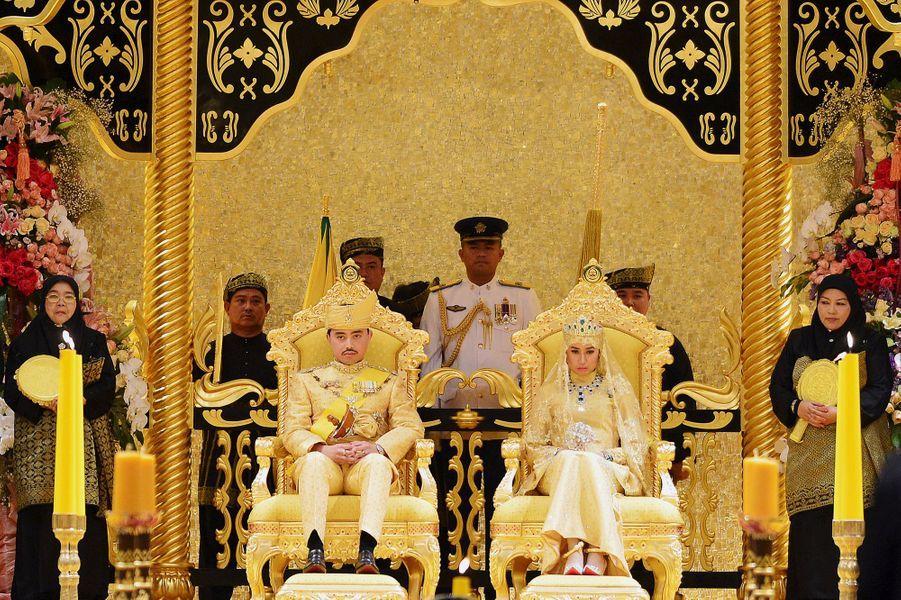Cérémonie d'intronisation lors du mariage du prince Abdul Malik au Sultanat de Brunei, le 12 avril 2015