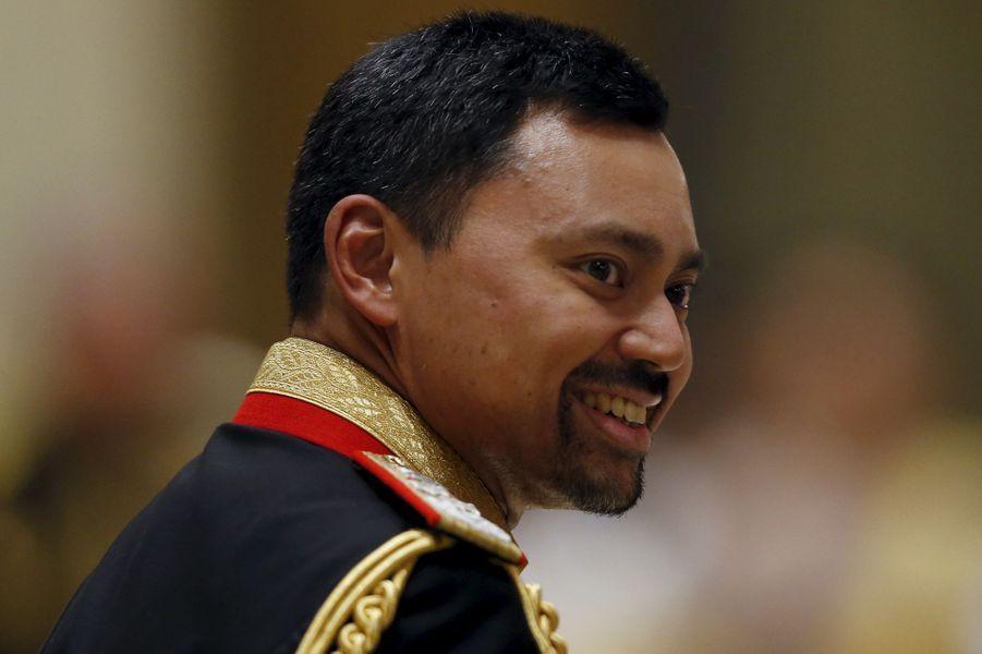 Le prince héritier Al-Muhtadee-Billah au mariage de son frère au Sultanat de Brunei, le 12 avril 2015