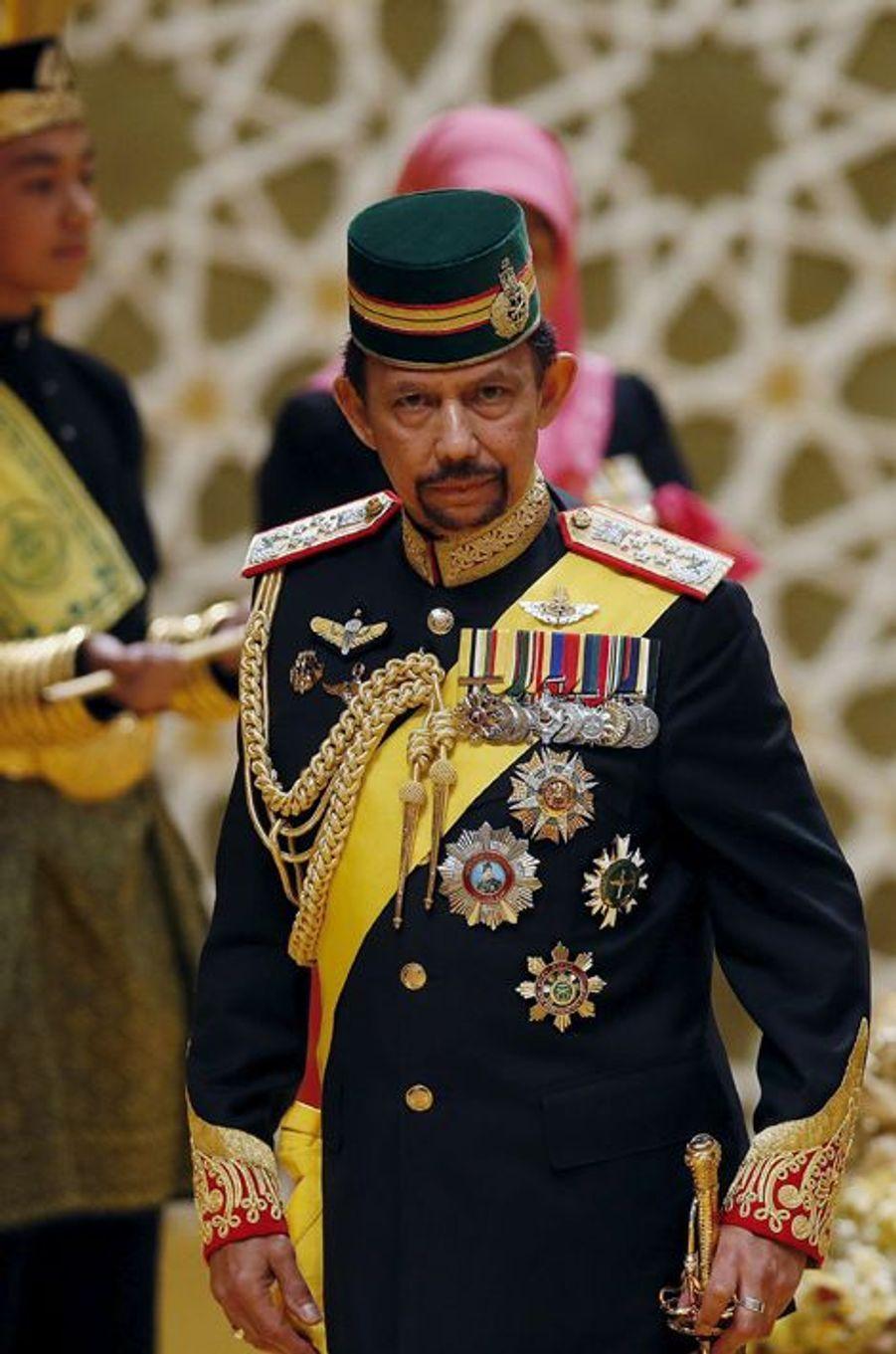 Le sultan Hassanal Bolkiah au mariage de l'un de ses fils au Sultanat de Brunei, le 12 avril 2015