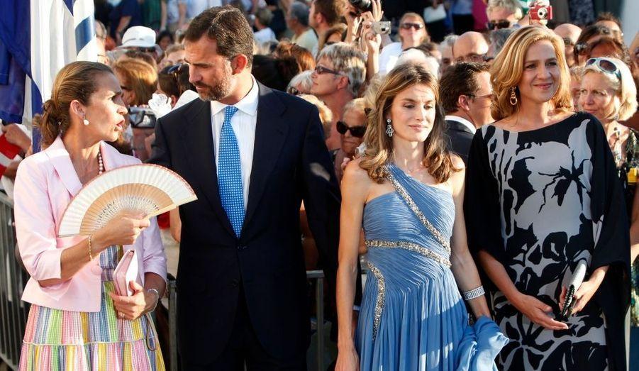 L'infante Elena, le prince Felipe, sa princesse Letizia et l'infante Cristina (de g. à dr.)