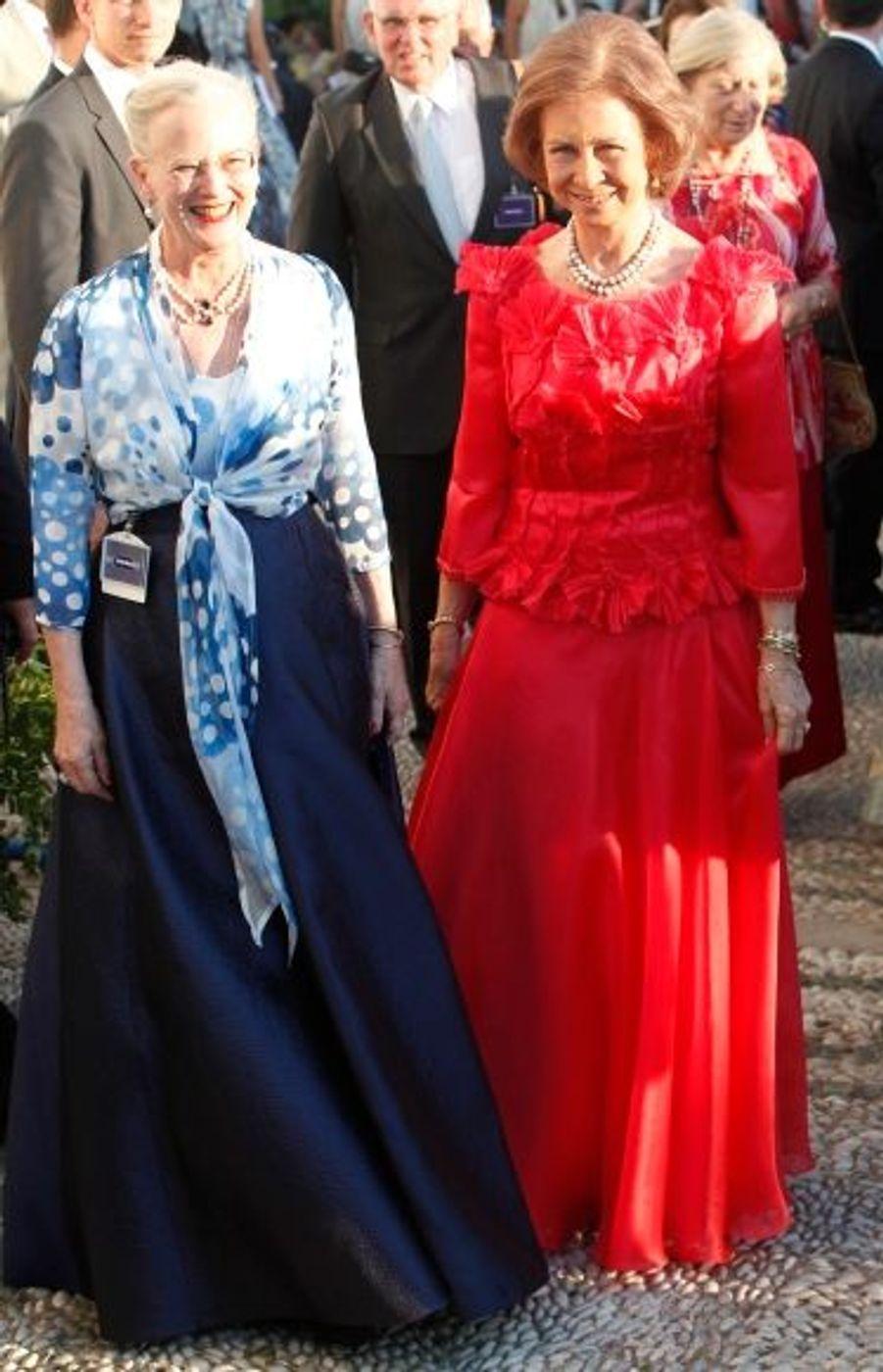 La reine Margarethe du Danemark( à g.) et la Reine Sofia d'Espagne.