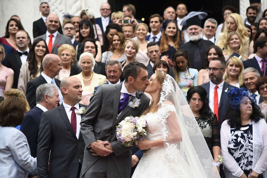 Le prince Djordje de Serbie et Fallon Rayman, le jour de leur mariage, le 15 juillet 2017 à Topola
