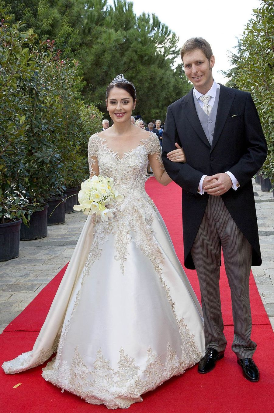 Le prince Leka II d'Albanie et Elia Zaharia, le jour de leur mariage, le 8 octobre 2017 à Tirana