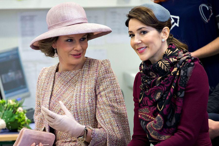 La reine Mathilde de Belgique et la princesse Mary de Danemark à Copenhague, le 29 mars 2017