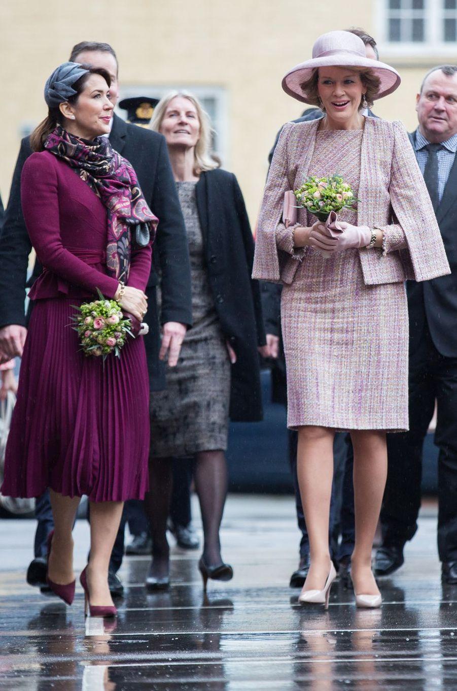 La princesse Mary de Danemark et la reine Mathilde de Belgique à Copenhague, le 29 mars 2017