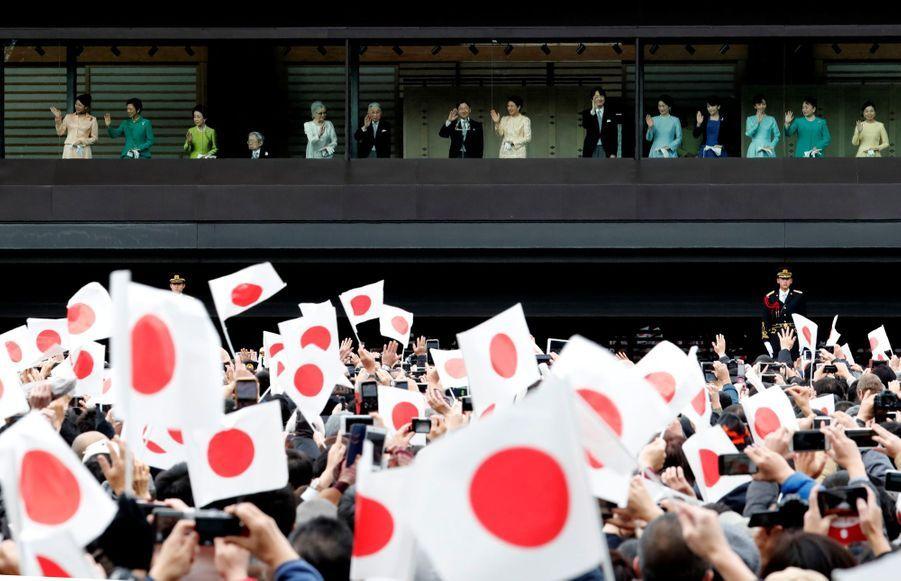 L'impératrice Masako et l'empereur Naruhito avec la famille impériale du Japon à Tokyo, le 2 janvier 2020