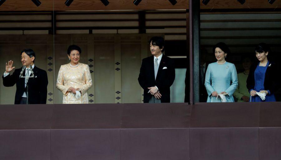 L'impératrice Masako et l'empereur Naruhito du Japon avec le prince Fumihito d'Akishino et les princesses Kiko et Mako à Tokyo le 1er janvier 2020