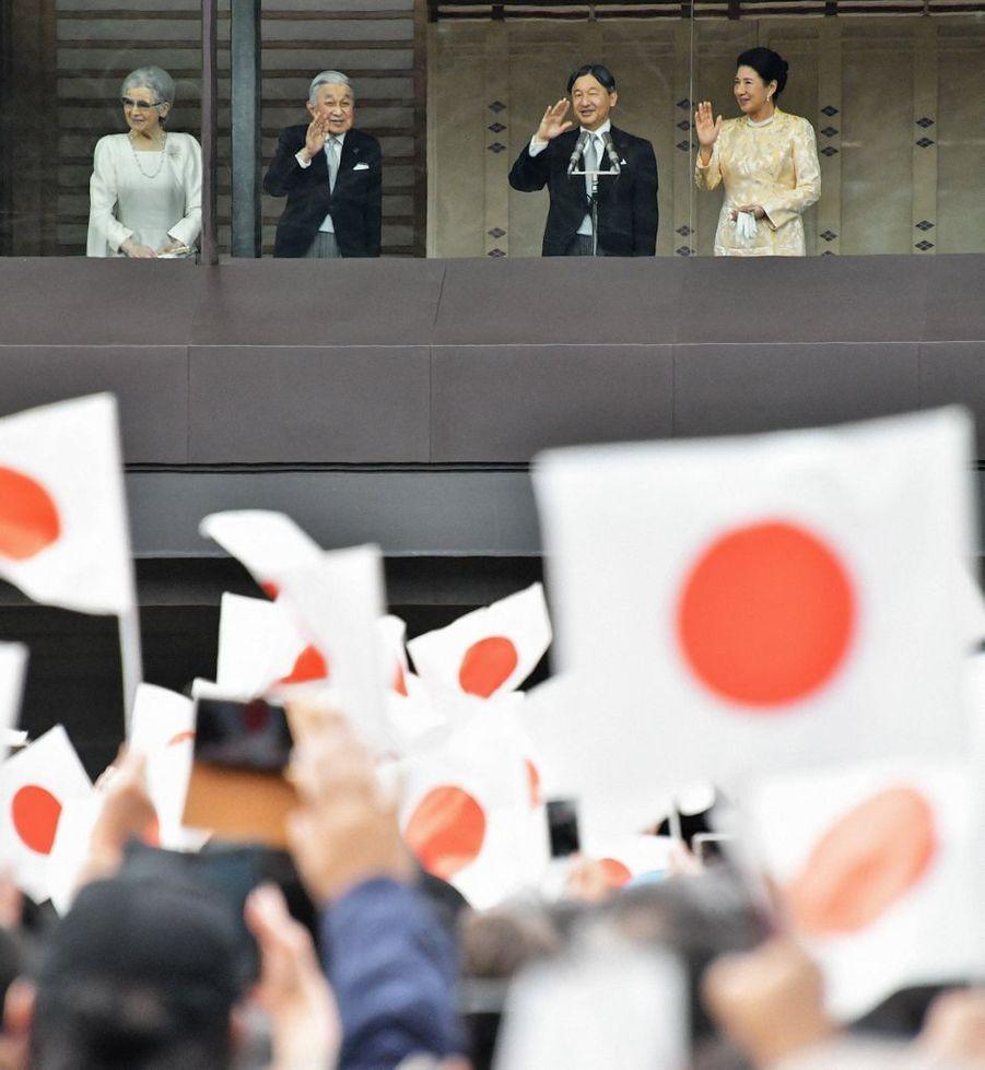 L'impératrice Masako et l'empereur Naruhito du Japon avec l'ancienne impératrice Michiko et l'ancien empereur Akihito à Tokyo, le 2 janvier 2020