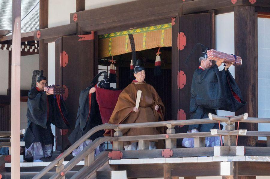L'empereur Naruhito du Japon en costume traditionnel à Tokyo, le 8 mai 2019
