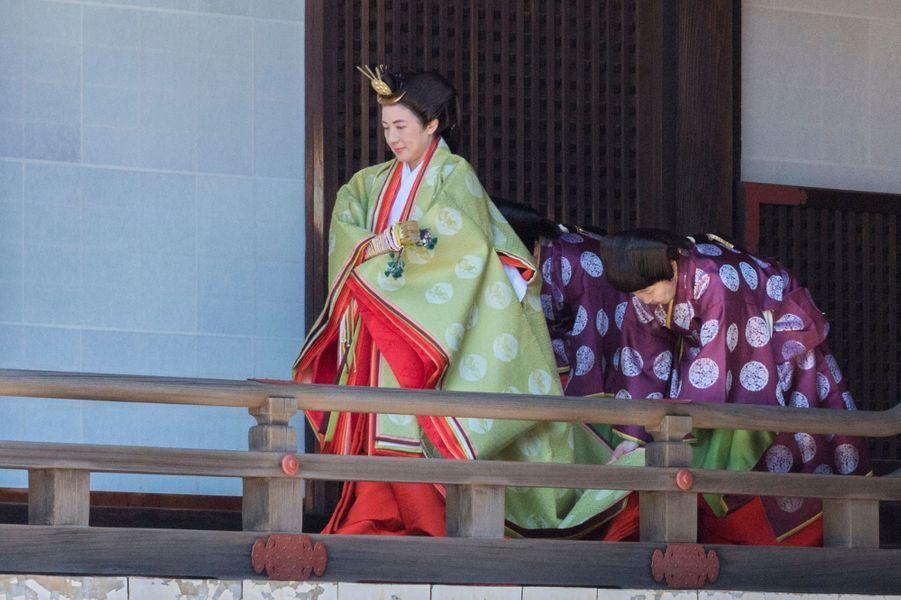 L'impératrice Masako du Japon en costume traditionnel à Tokyo, le 8 mai 2019