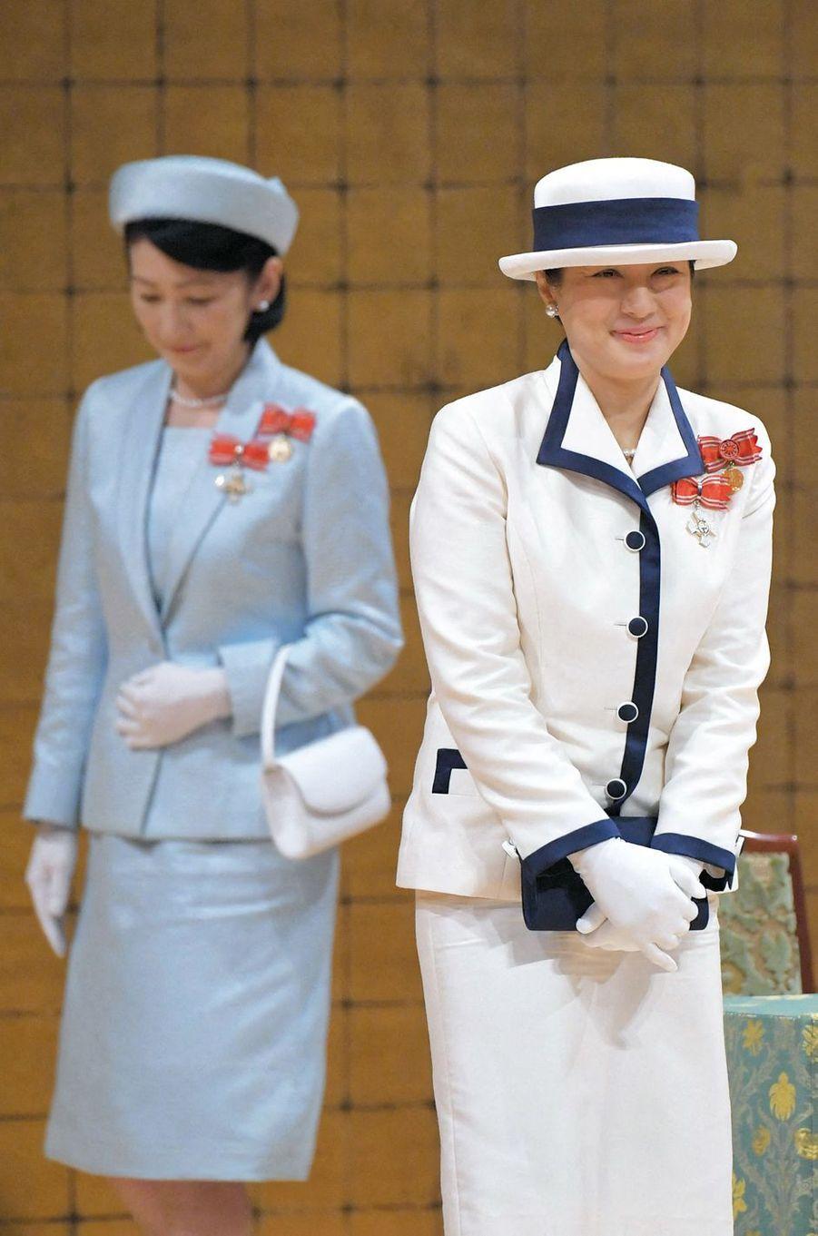 L'impératrice Masako du Japon avec sa belle-soeur la princesse Kiko à Tokyo, le 22 mai 2019
