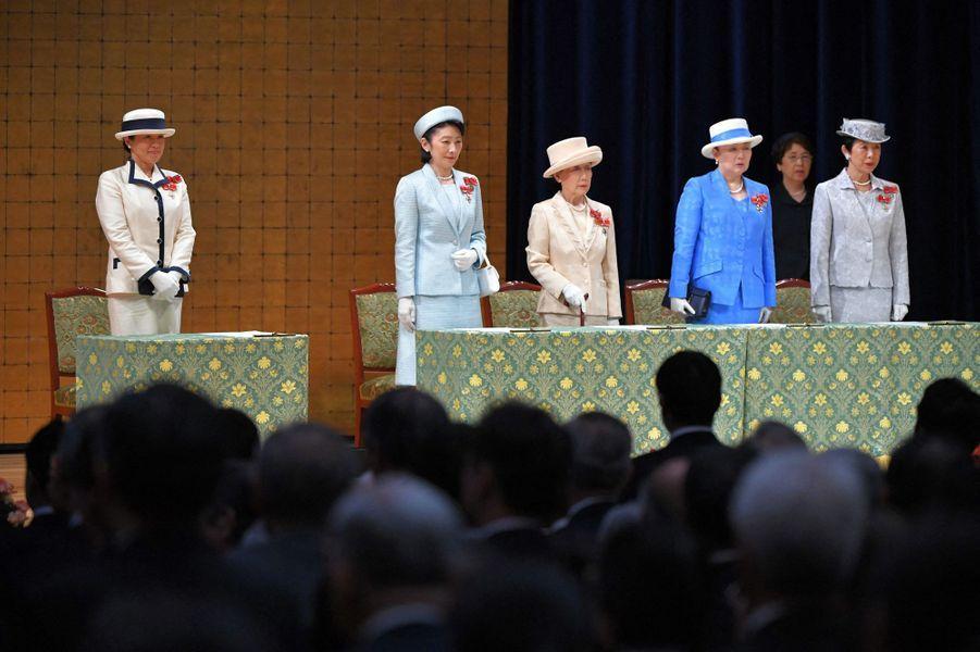 L'impératrice Masako du Japon avec sa belle-soeur la princesse Kiko et plusieurs femmes de la famille impériale à Tokyo, le 22 mai 2019