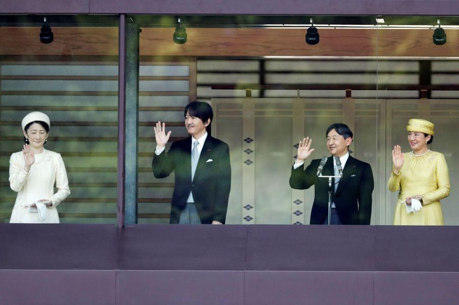 L'empereur Naruhito du Japon et l'impératrice Masako avec le prince Akishino et la princesse Kiko à Tokyo, le 4 mai 2019