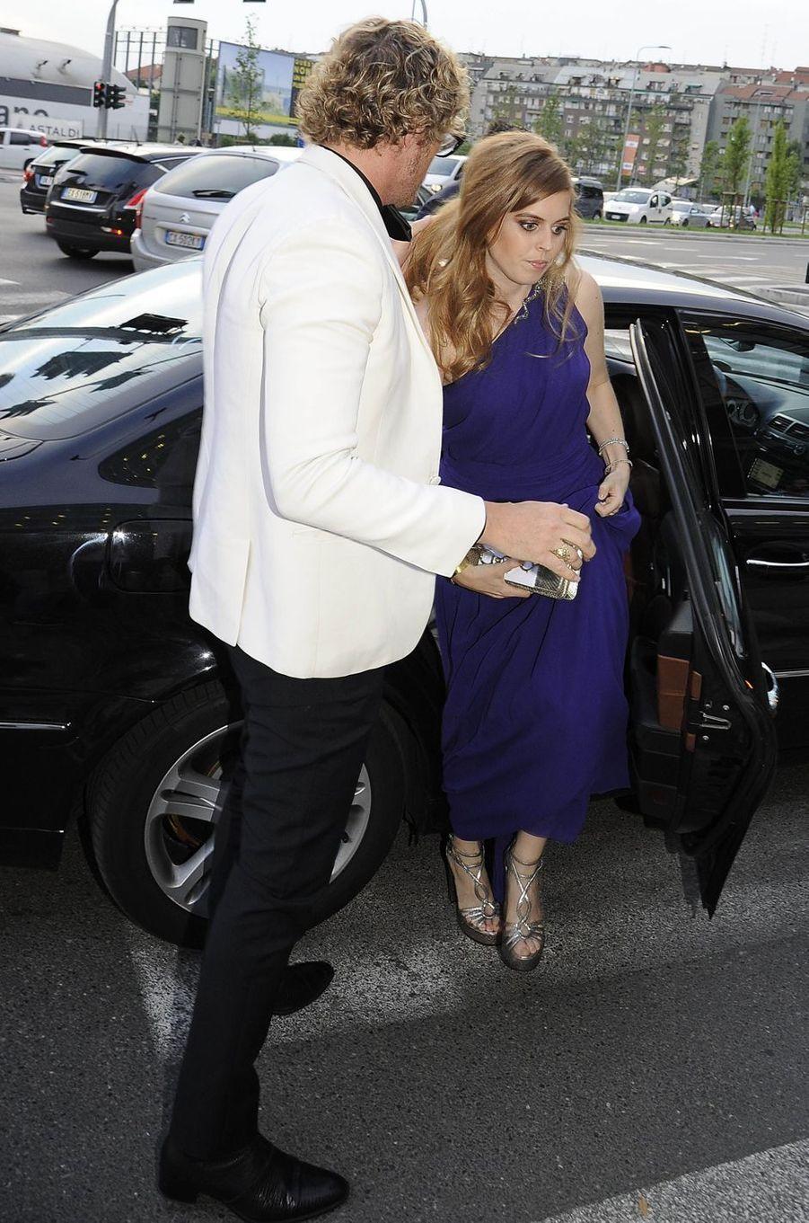 La princesse Beatrice d'York avec Peter Dundas à Milan, le 7 juin 2016