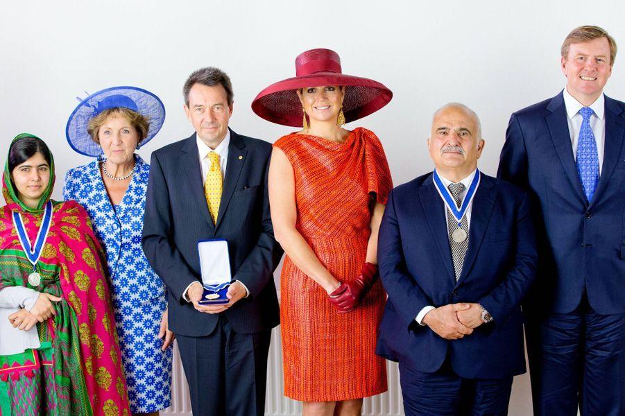 Malala, la princesse Margriet, Peter Maurer, directeur de la Croix Rouge internationale, Maxima, Hassan de Jordanie et Willem-Alexander