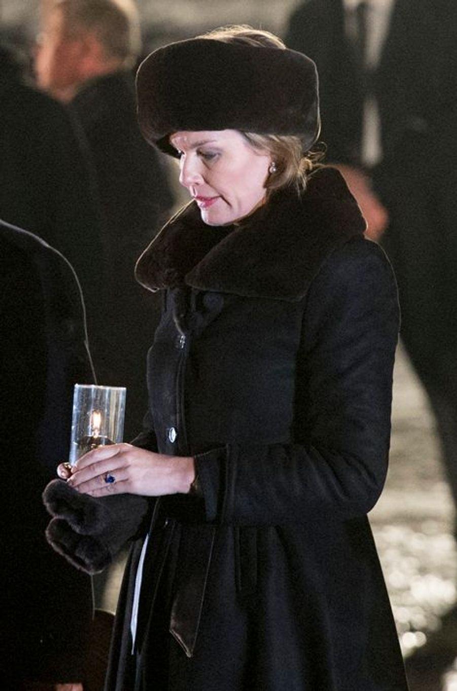 Mathilde de Belgique à Auschwitz-Birkenau, le 27 janvier 2015