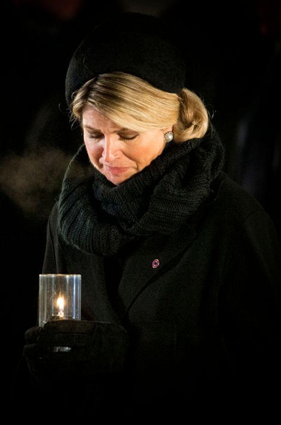 Maxima des Pays-Bas à Auschwitz-Birkenau, le 27 janvier 2015