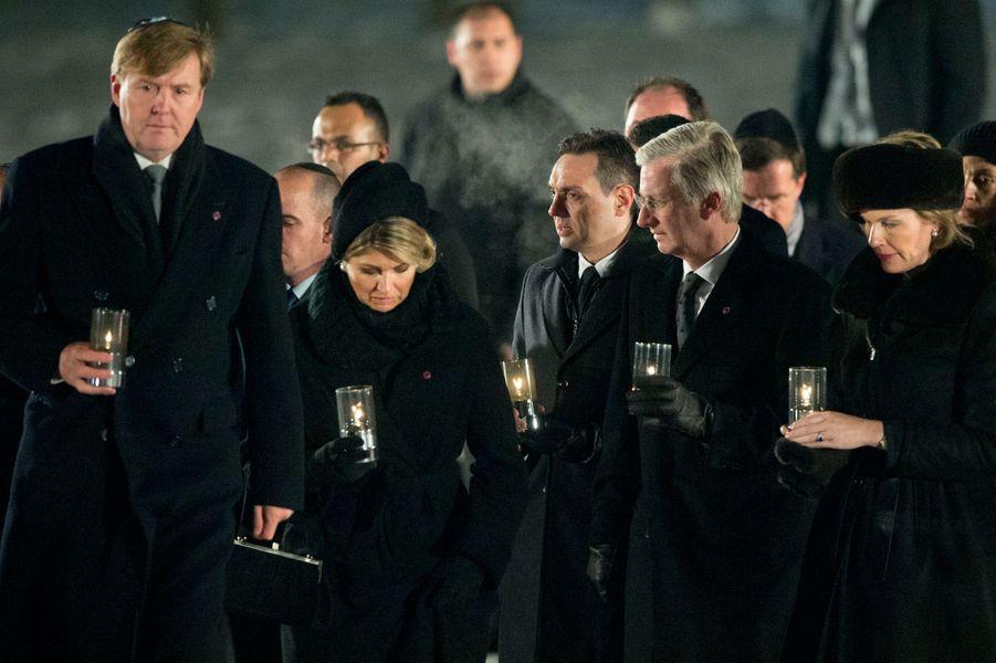 Willem-Alexander et Maxima des Pays-Bas et Philippe et Mathilde de Belgique à Auschwitz-Birkenau, le 27 janvier 2015