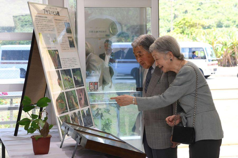 L'empereur Akihito du Japon et l'impératrice Michiko à Yonaguni, le 28 mars 2018
