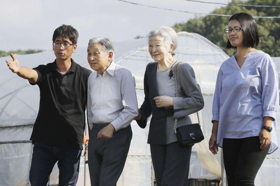 L'impératrice Michiko et l'empereur du Japon Akihito à Kitahiroshima, le 3 août 2018