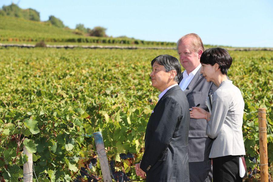 Le prince Naruhito du Japon à Santenay en Bourgogne, le 9 septembre 2018