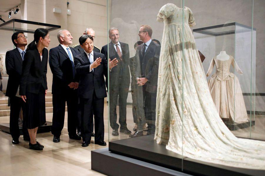 Le prince Naruhito du Japon au musée des Tissus à Lyon, le 8 septembre 2018