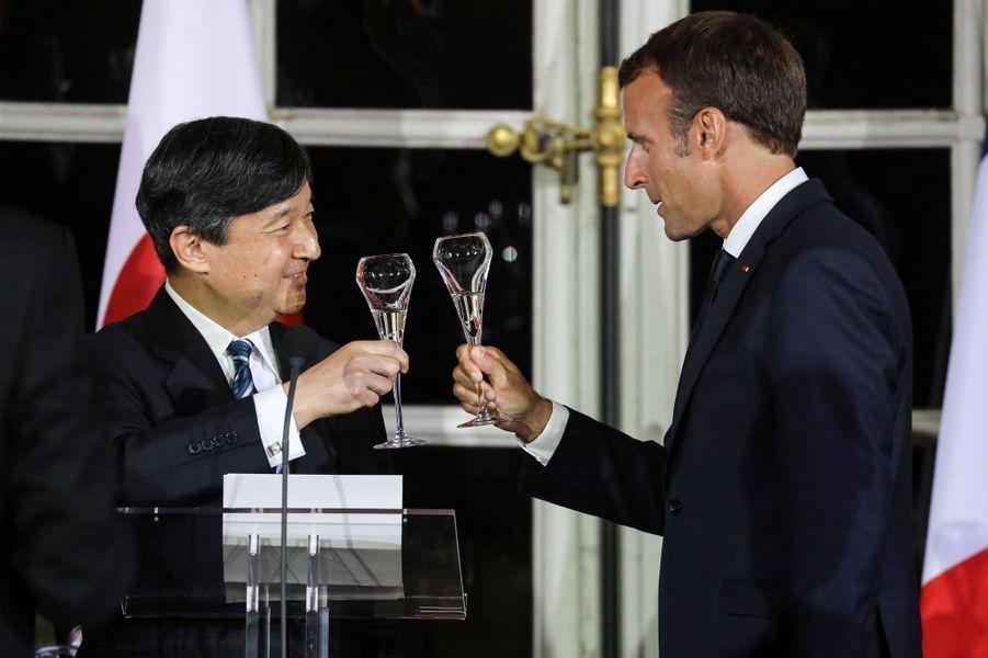 Le prince Naruhito du Japon à Versailles avec Emmanuel Macron, le 12 septembre 2018