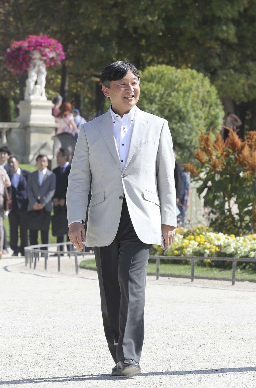 Le prince Naruhito du Japon au Jardin du Luxembourg à Paris, le 12 septembre 2018