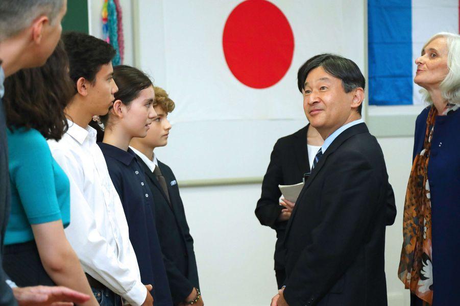 Le prince Naruhito du Japon au lycée Jean de la Fontaine à Paris, le 13 septembre 2018