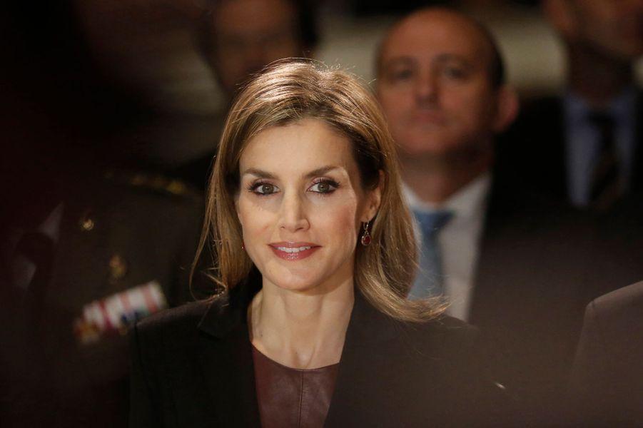 La reine Letizia d'Espagne inaugure l'exposition Velasquez à Vienne, le 27 octobre 2014