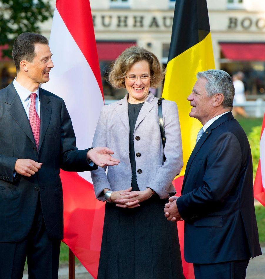 Joachim Gauck avec le prince Alois du Liechtenstein et son épouse Sophie de Wittelsbach