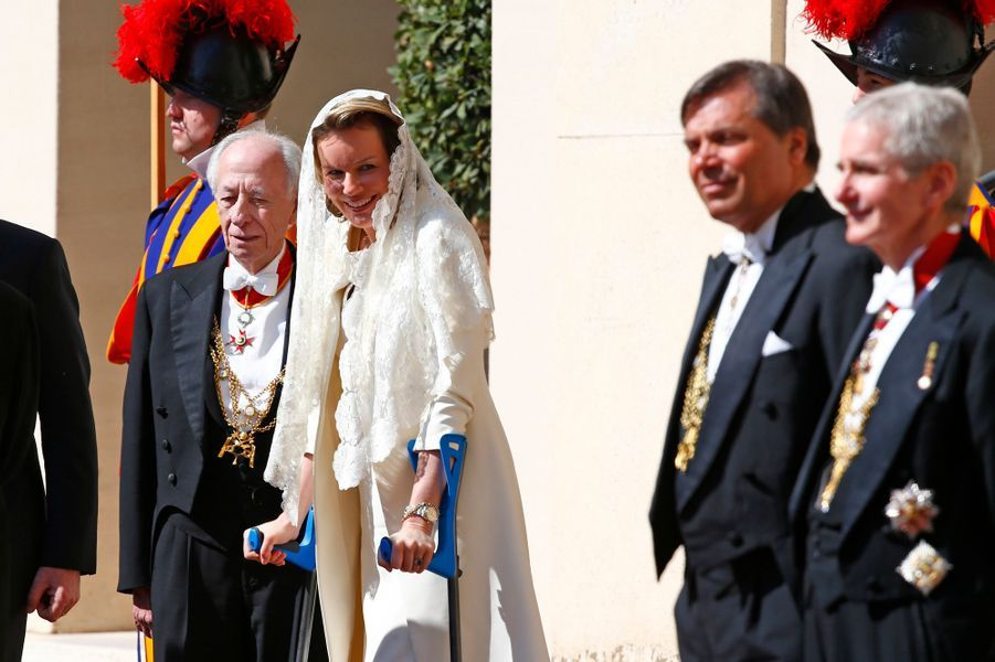 La reine Mathilde de Belgique au Vatican, le 9 mars 2015