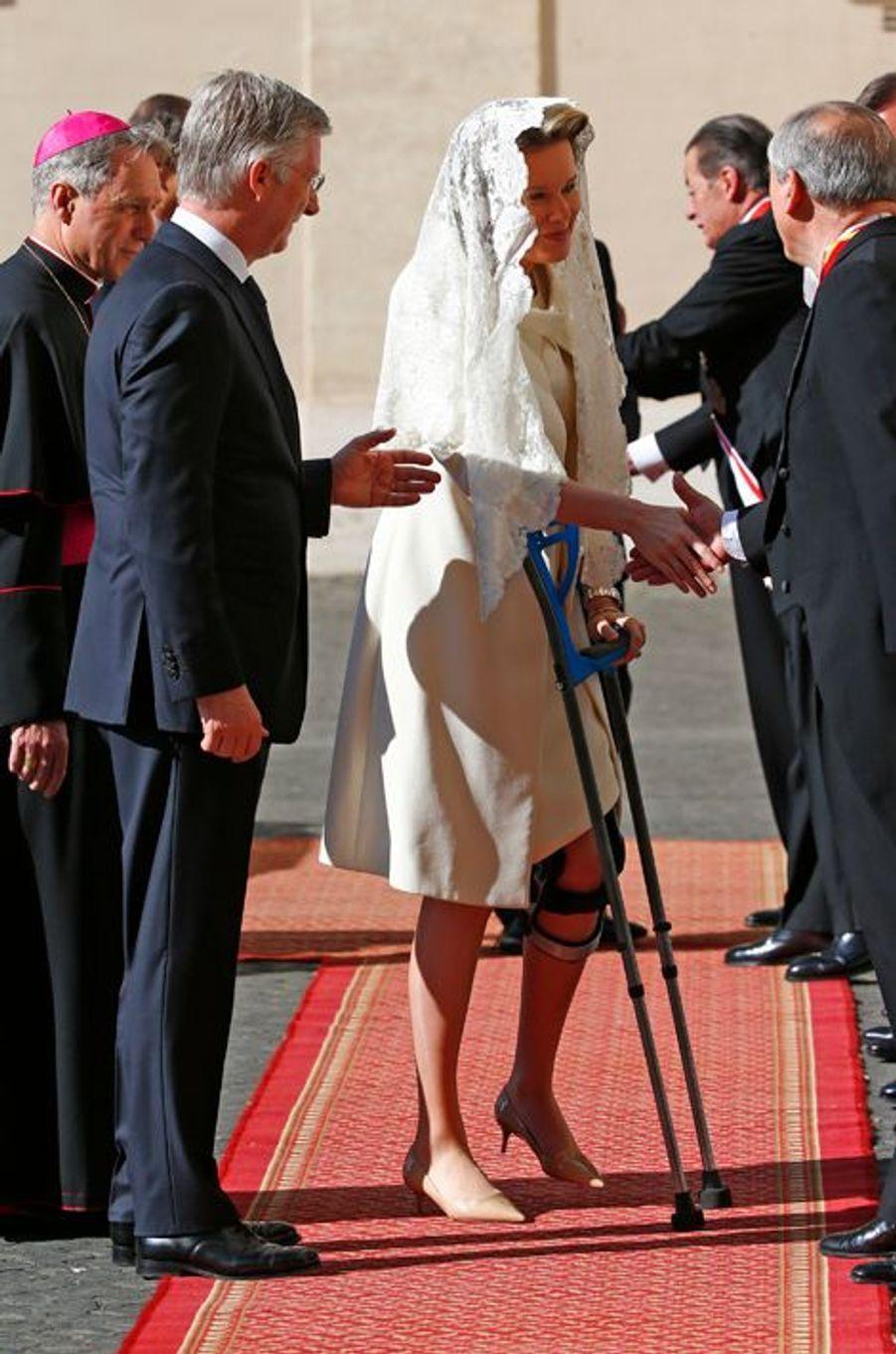 Le roi Philippe et la reine Mathilde de Belgique au Vatican, le 9 mars 2015