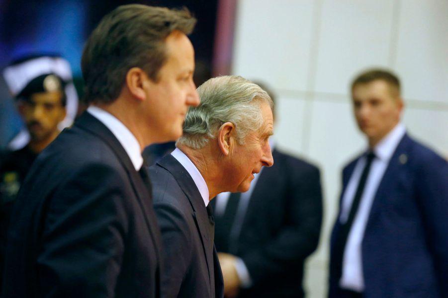Le prince Charles et David Cameron à Riyad, le 24 janvier 2014