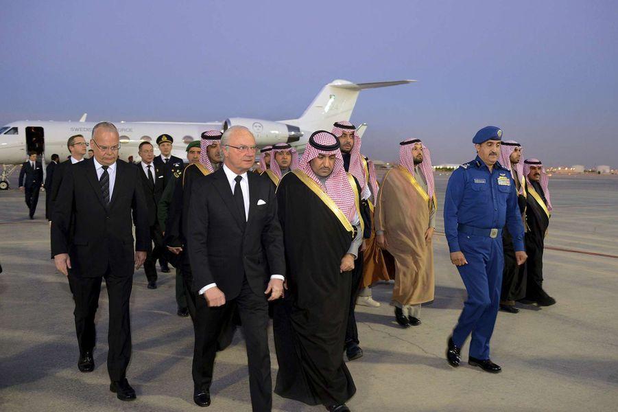 Le roi Carl XVI Gustaf de Suède à Riyad, le 24 janvier 2014