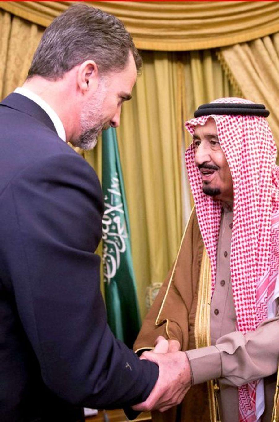 Le roi Felipe VI d'Espagne à Riyad, le 24 janvier 2014