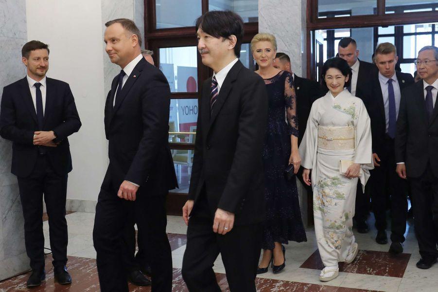 La princesse Kiko du Japon et le prince Fumihito d'Akishino avec le couple présidentiel polonais à Varsovie, le 28 juin 2019