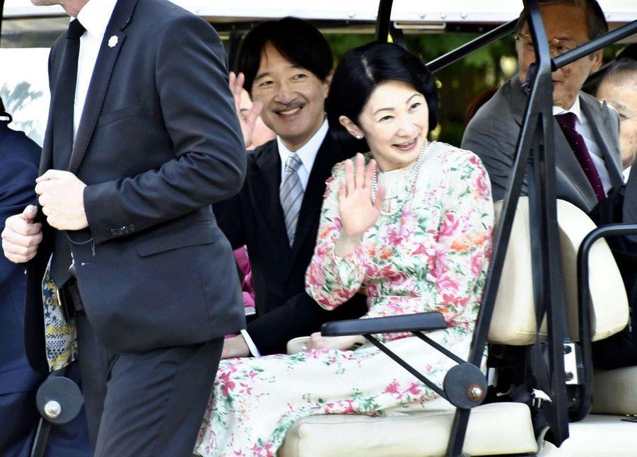 La princesse Kiko du Japon et le prince Fumihito d'Akishino à Varsovie, le 30 juin 2019
