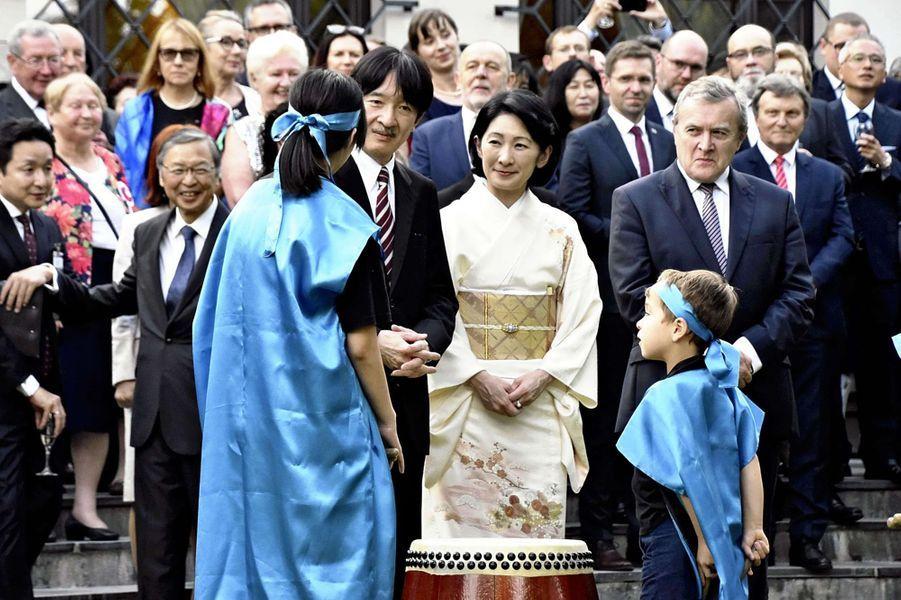 La princesse Kiko du Japon et le prince Fumihito d'Akishino à Varsovie, le 1er juillet 2019