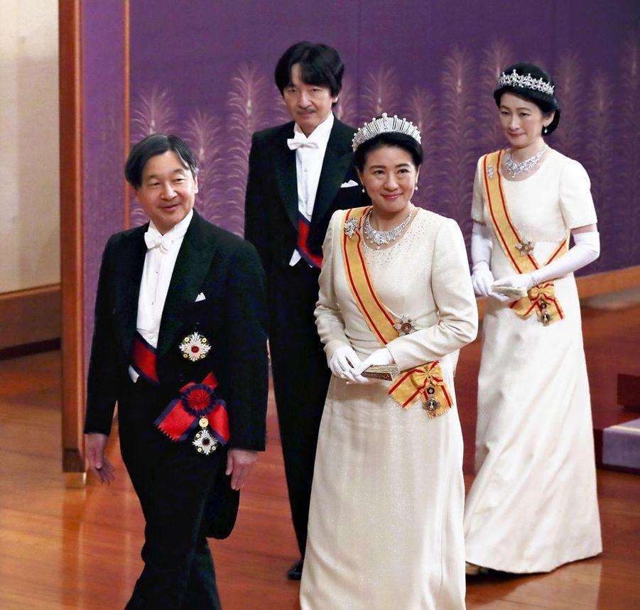 La princesse Masako du Japon avec les princes Naruhito et Akishino et la princesse Kiko, à Tokyo le 1er janvier 2019