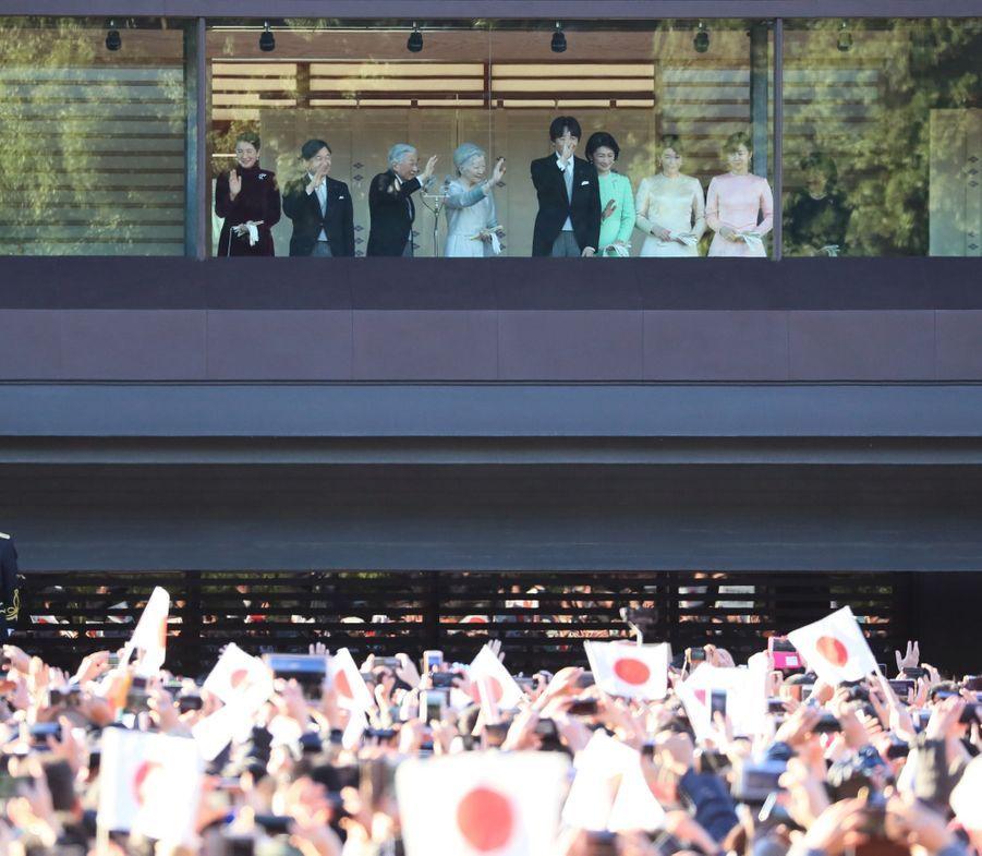 La princesse Masako du Japon avec l'empereur Akihito et l'impératrice Michiko et la famille impériale à Tokyo, le 2 janvier 2019